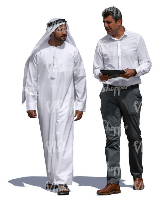 arab man talking with a businessman