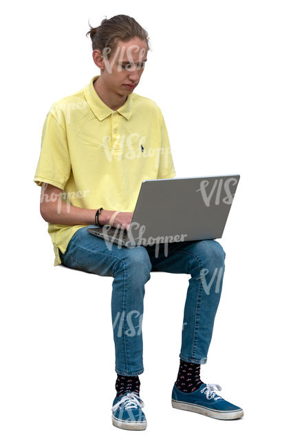 man sitting and working with laptop