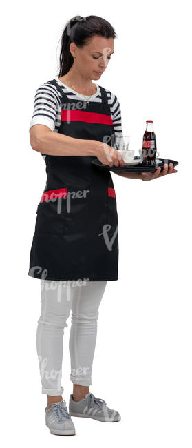waitress with a tray standing