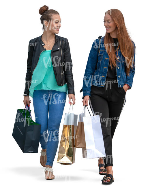 women with shopping bags walkign and talking
