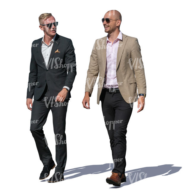 two men wearing suits walking and talking