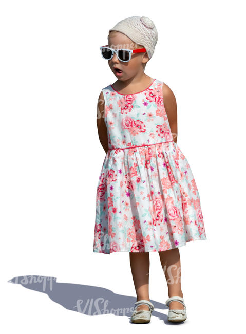 little girl with sunglasses standing