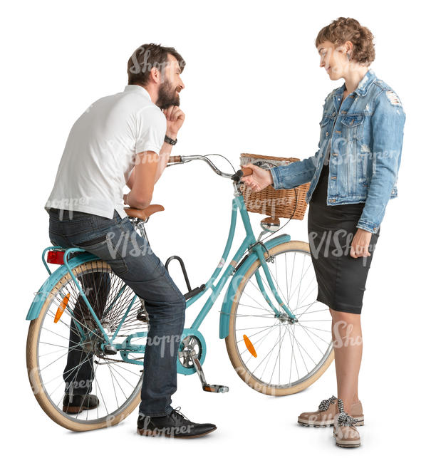 man and woman with a bike talking