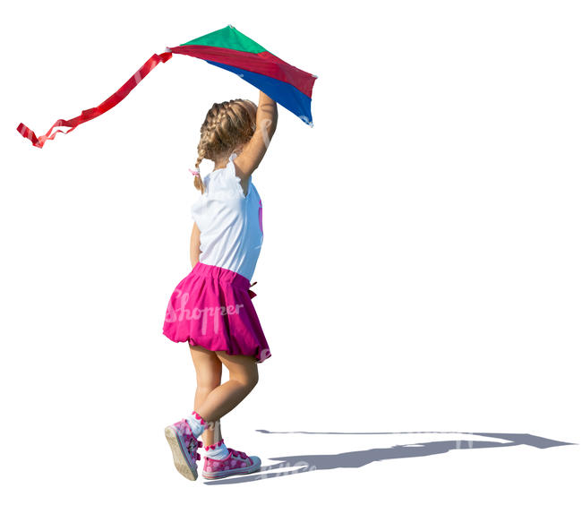little girl running with a kite