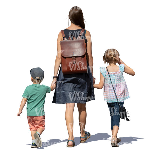 mother and two children walking hand in hand