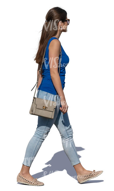 young woman walking on a sunny day
