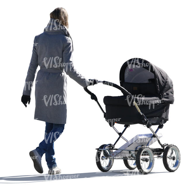 woman in a grey jacket walking with a baby carriage
