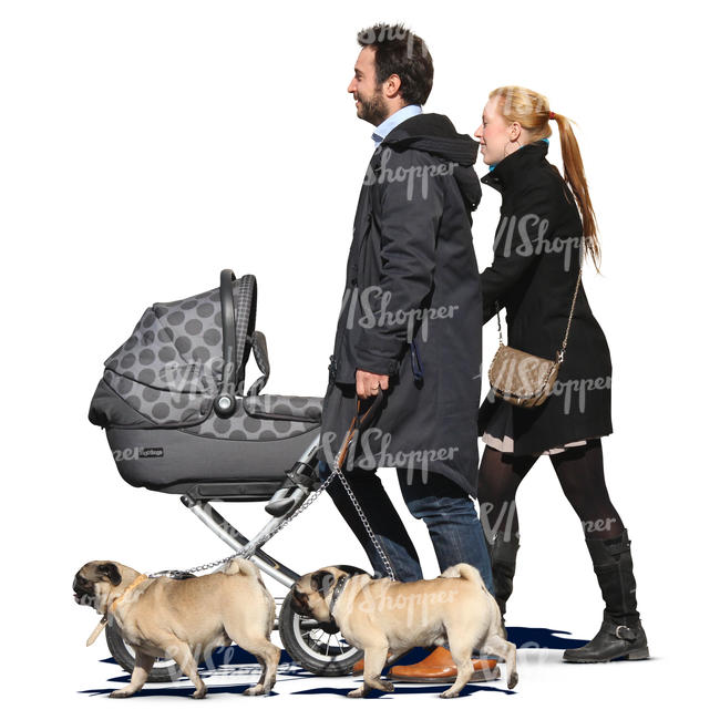 man and woman walking with a baby carriage and two dogs