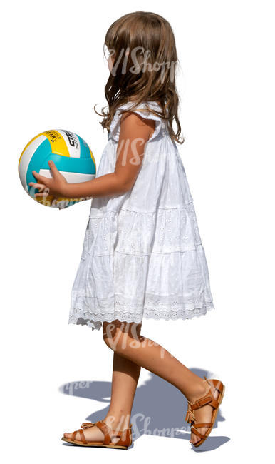 little girl with a ball walking