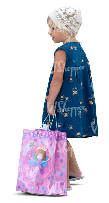 little girl with a gift bag standing