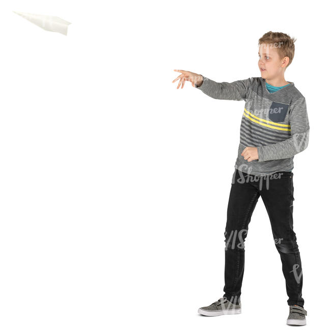 boy flying a paper plane