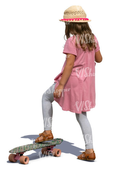 little girl with a skateboard standing