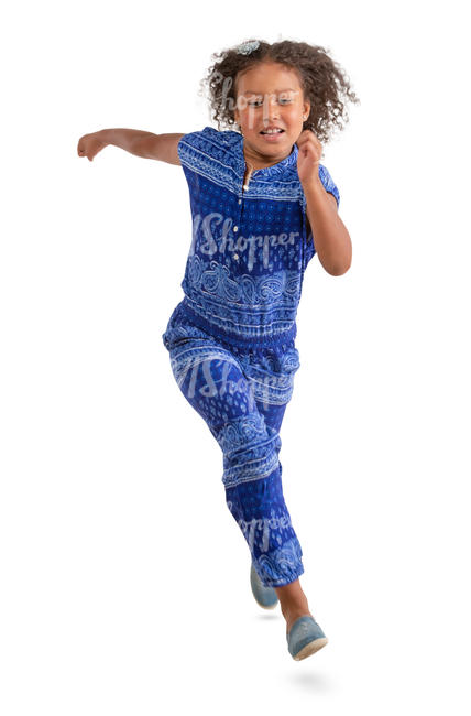 african girl in a blue jumpsuit running