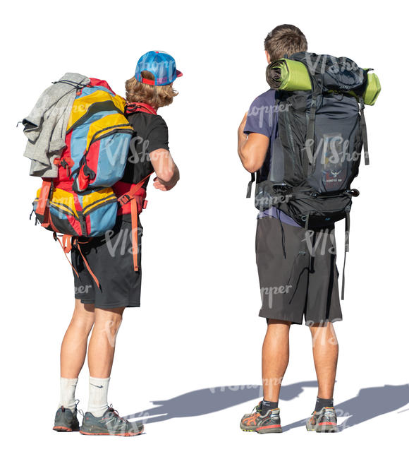 two men with hiking backpacks standing