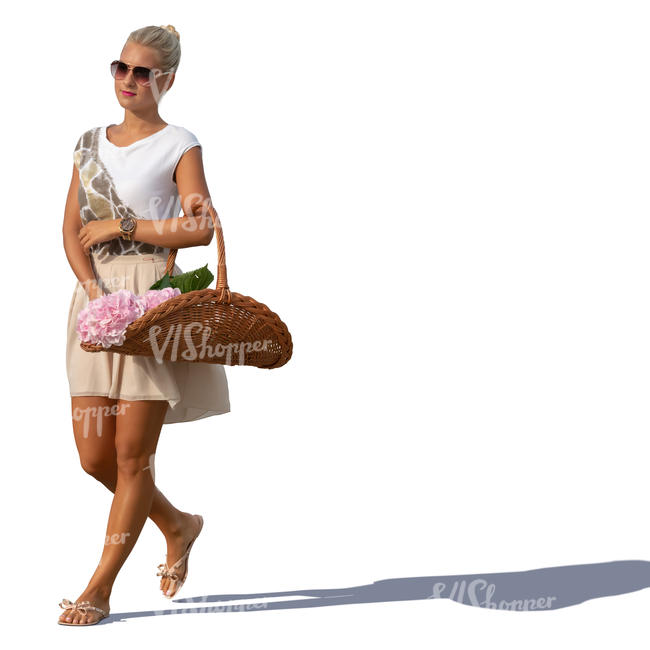 woman with a basket of flowers walking