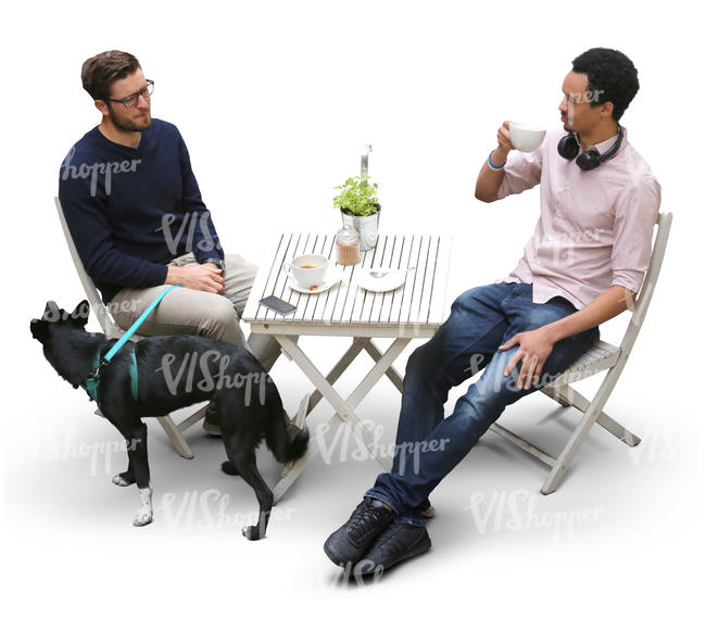 two men and a dog in a cafe seen from above