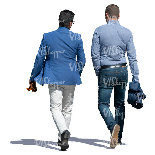 two men walking and talking