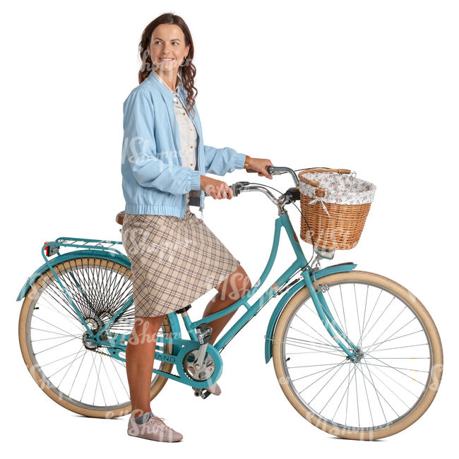 woman with a mint blue bicycle