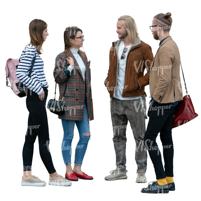 four young people standing and talking