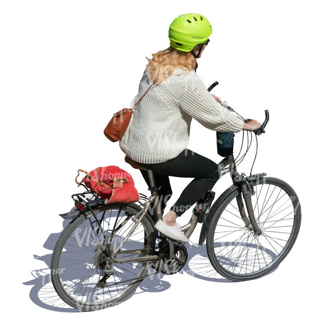 woman cycling seen from above