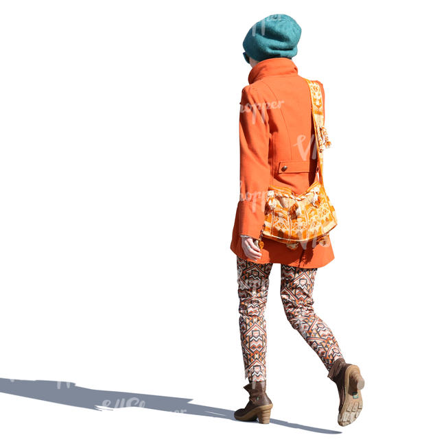 colorful woman in spring coat walking