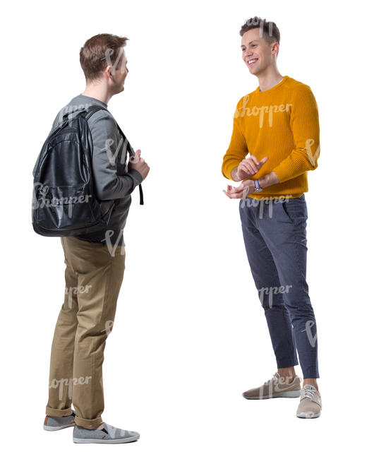 two young men standing and talking