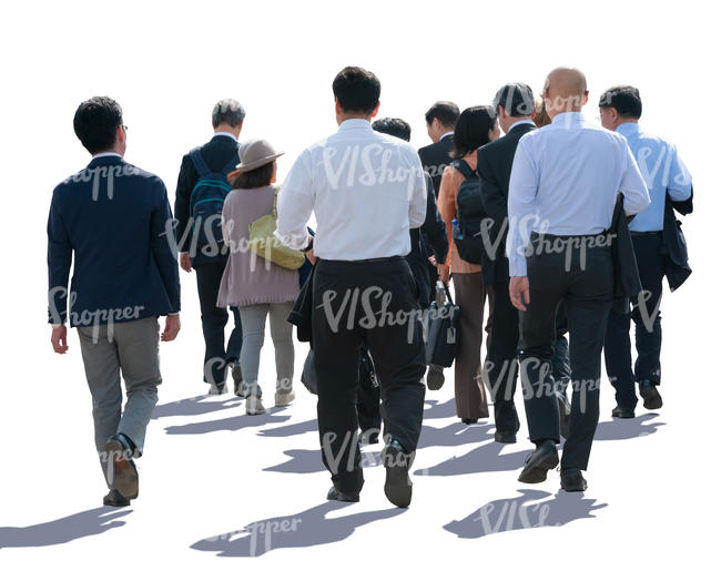 large group of businessmen walking