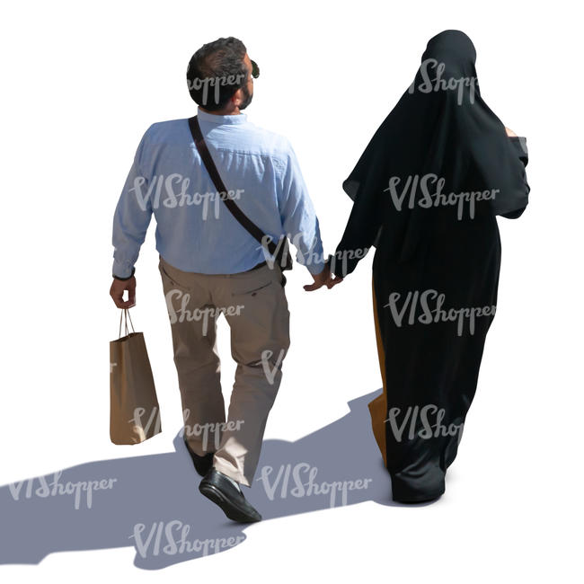 muslim couple walking seen from above