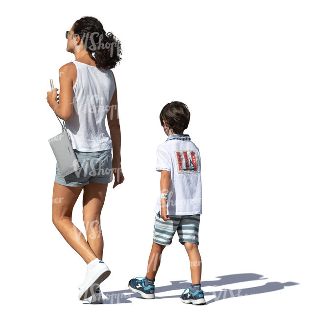 mother and son walking on a summer day