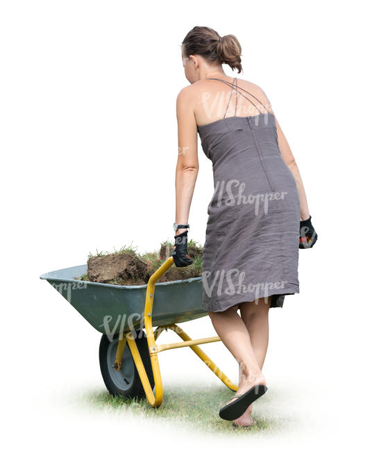 woman with a garden barrow