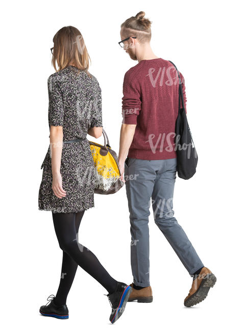 young man and woman walking