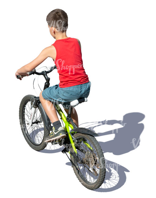 boy riding a bike seen from above