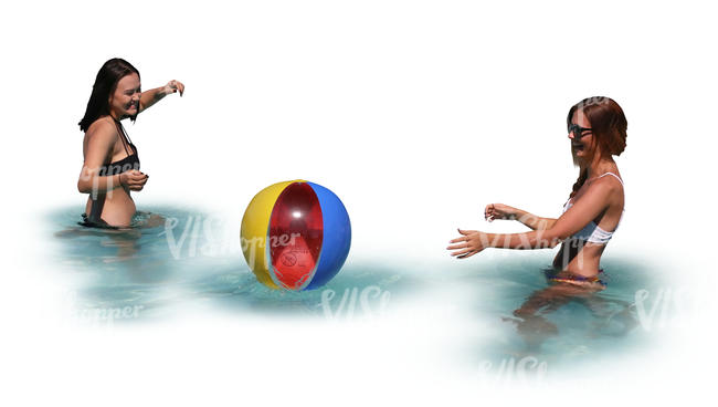 two women playing beach ball in the pool