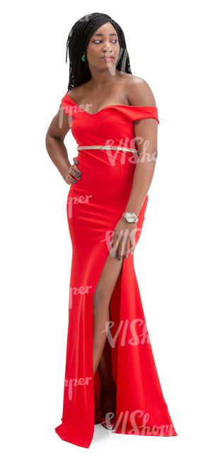 black woman in a red evening gown standing