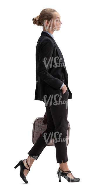 businesswoman with a laptop bag walking