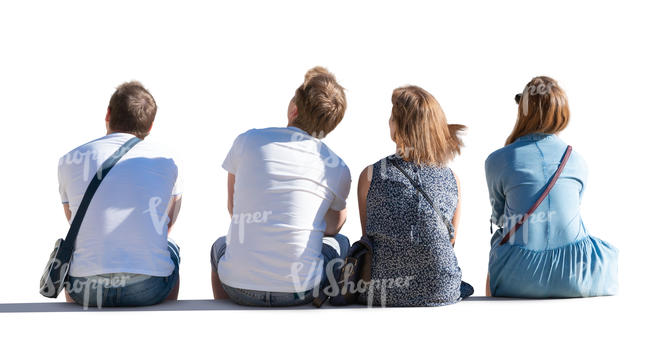 four people sitting seen from behind