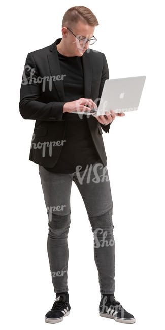 man with a laptop standing
