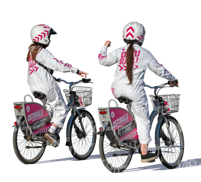 two women in uniform costumes cycling