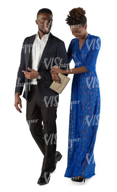 black man and woman in formal outfits walking arm in arm