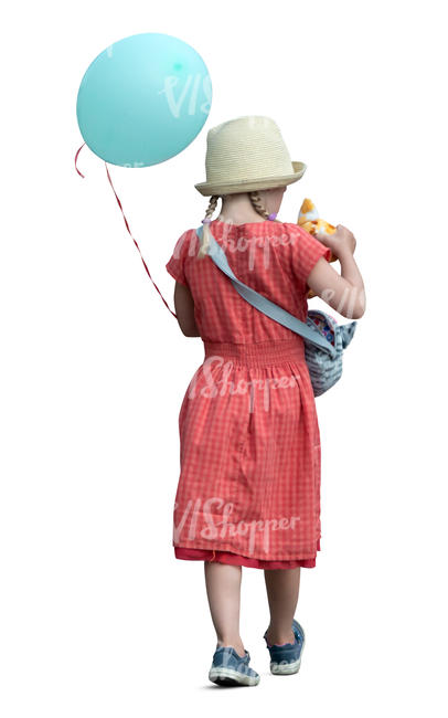little girl with a balloon walking