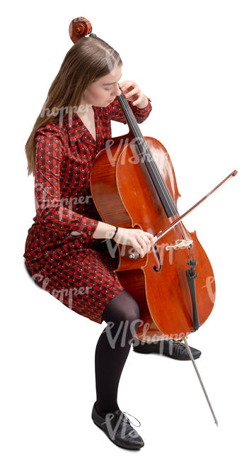 young woman playing cello seen from above