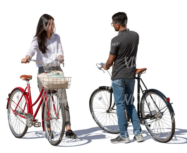man and woman with bikes standing and talking