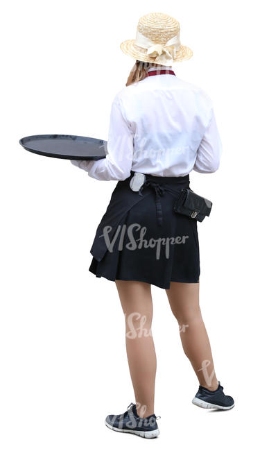 waitress in a street cafe standing