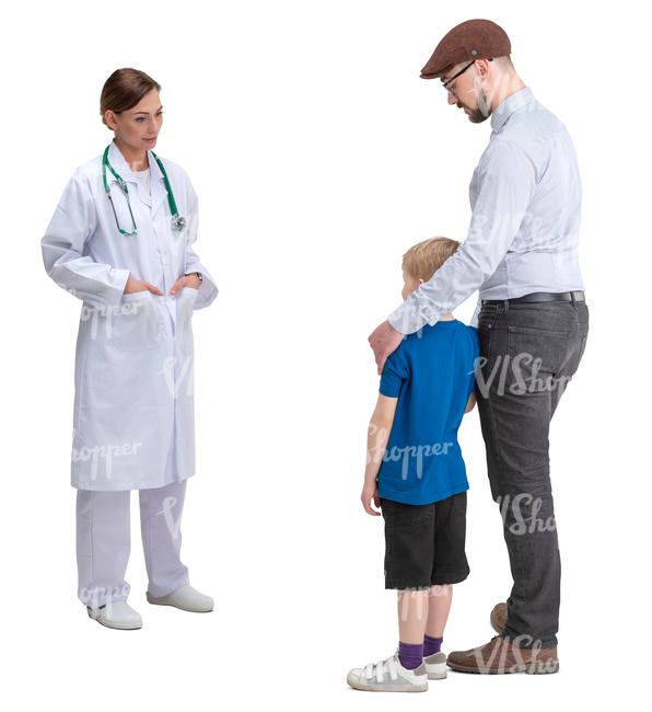 father and son talking to a doctor