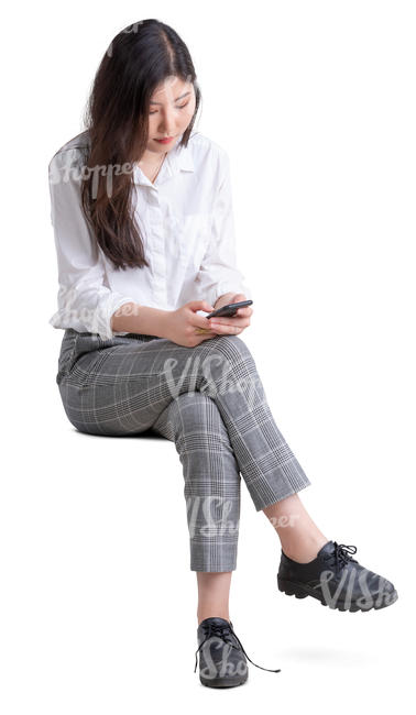 young asian woman sitting