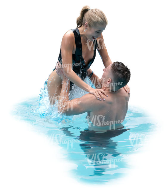 man and woman having fun in the pool