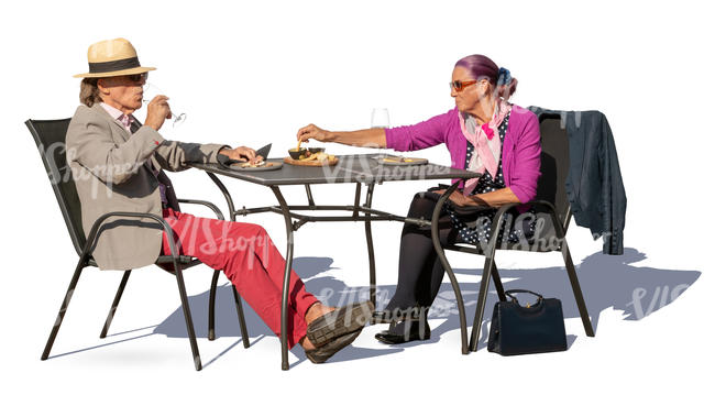 older couple sitting in a cafe