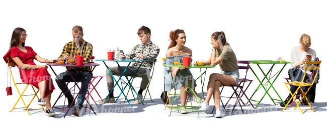 street cafe scene with six people