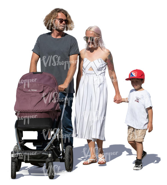 family with baby carriage walking hand in hand