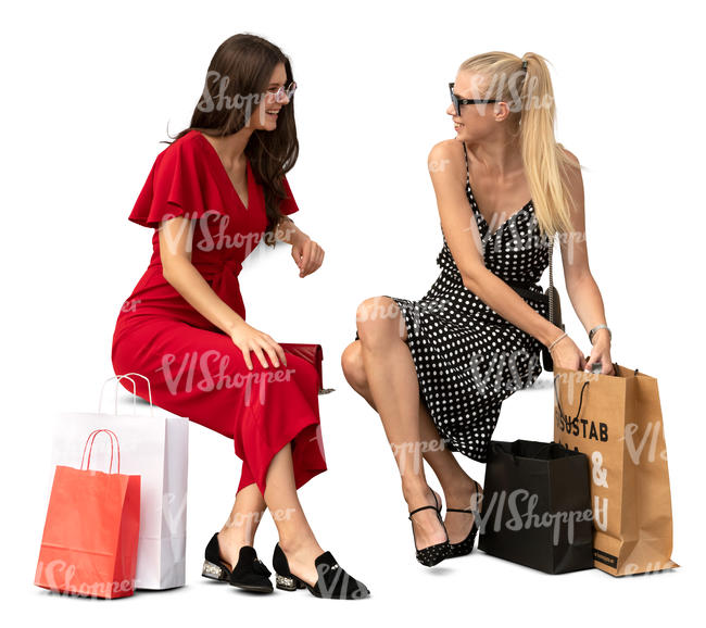 two women with shopping bags sitting and talking